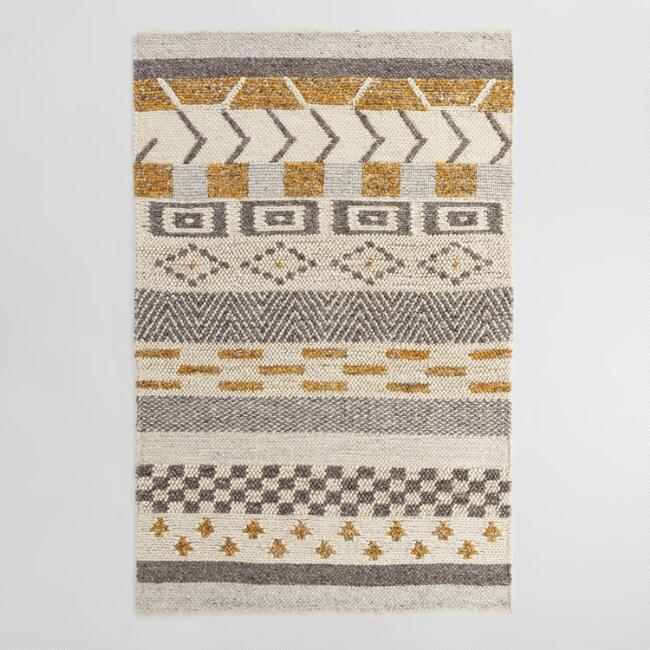 Striped Chunky Sweater Wool Brayden Area Rug