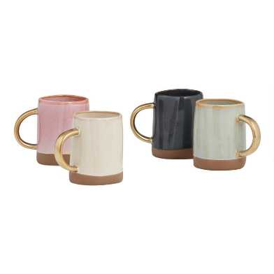 Dipped Reactive Glaze Mugs With Gold Handles Set Of 4
