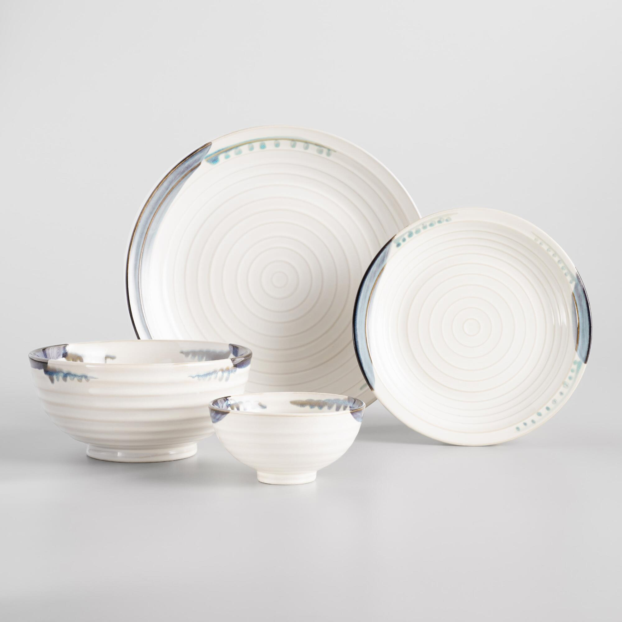 Blue and White Reactive Glaze Dinnerware Collection by World Market