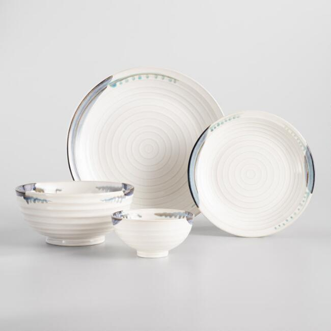 Blue and White Reactive Glaze Dinnerware Collection
