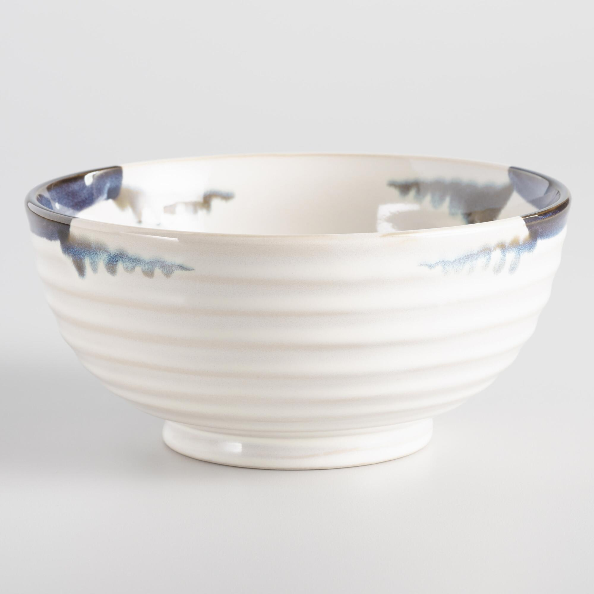 Blue and White Reactive Glaze Medium Bowls Set of 4 by World Market