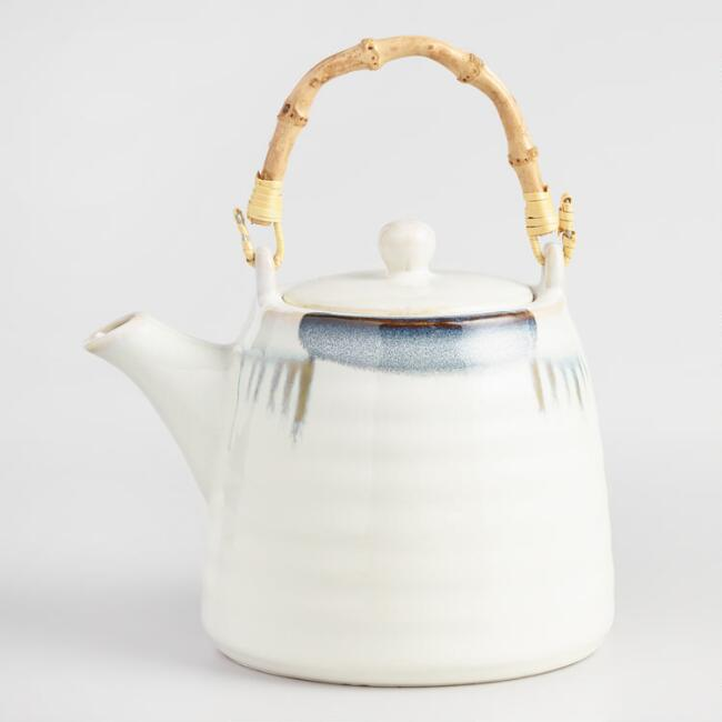 Blue and White Reactive Glaze Teapot