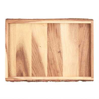 Acacia Wood Bark Serving Tray
