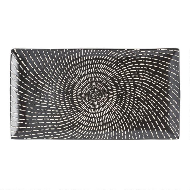 Rectangular Black And White Swirl Trilogy Serving Platter