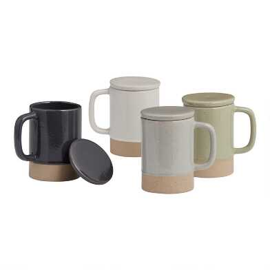 Speckled Stoneware Mug with Lid Set Of 4