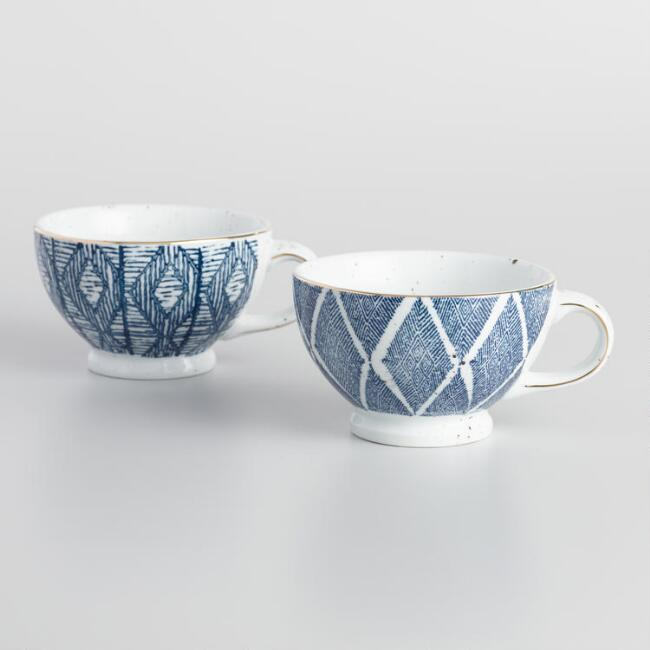 Blue and White Porcelain Teacups Set of 2