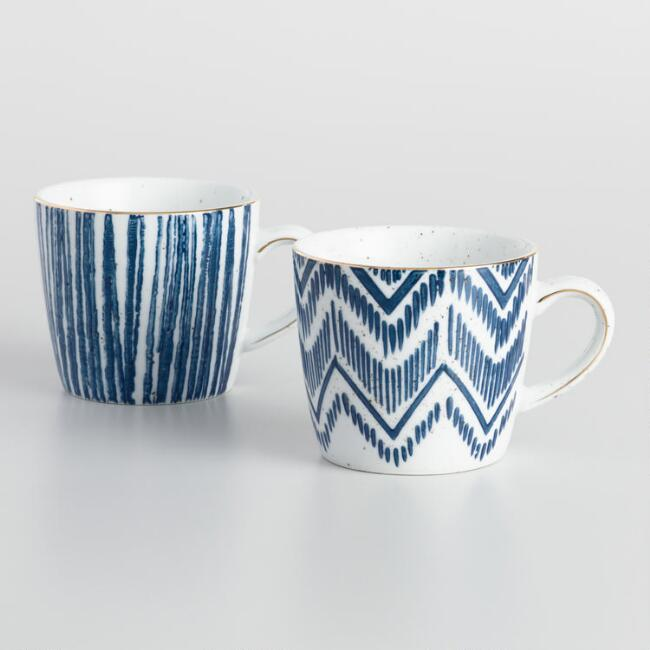 Blue and White Porcelain Mugs Set of 2