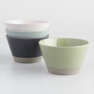 Two Tone Speckled Stoneware Bowls Set of 4
