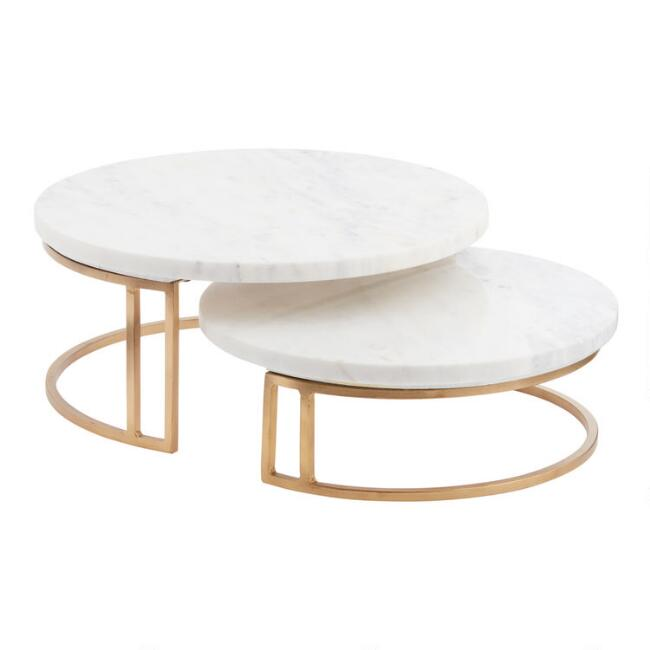 Gold and marble pedestal stand world market for Outdoor furniture covers world market