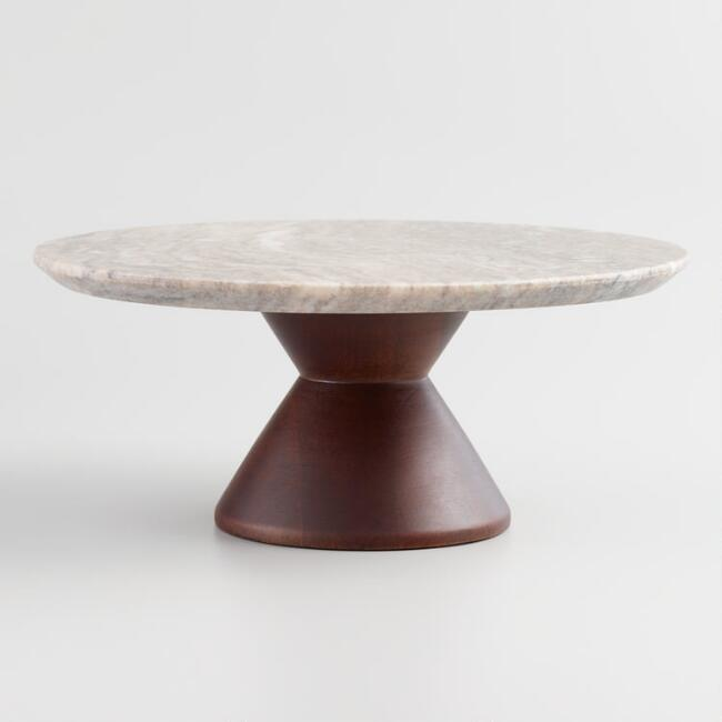 Marble and Wood Pedestal Stand