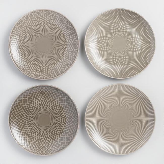 Taupe Textured Stoneware Dinner Plates Set of 4