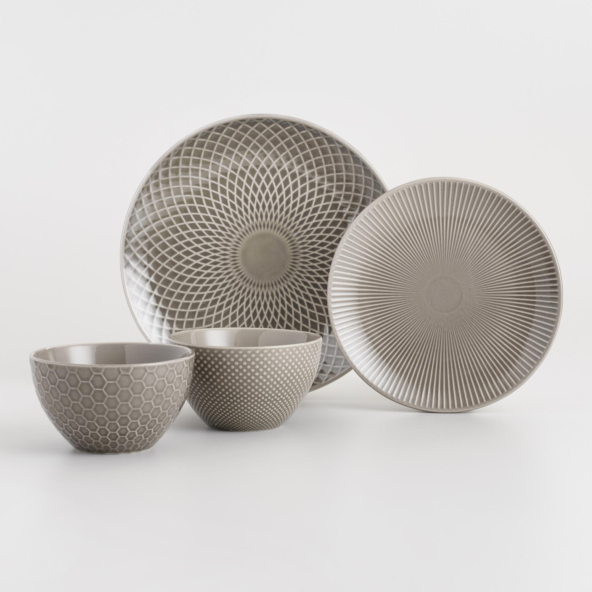 Taupe Textured Stoneware Dinner Collection by World Market
