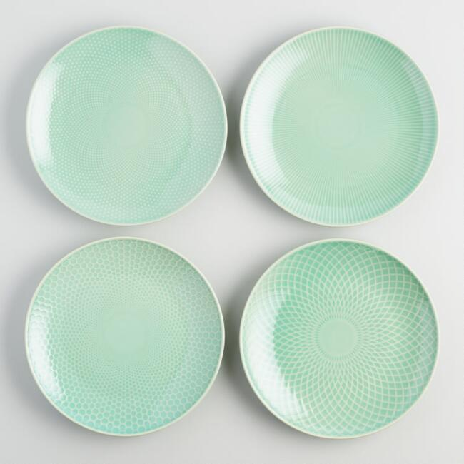 Mint Textured Stoneware Dinner Plates Set of 4