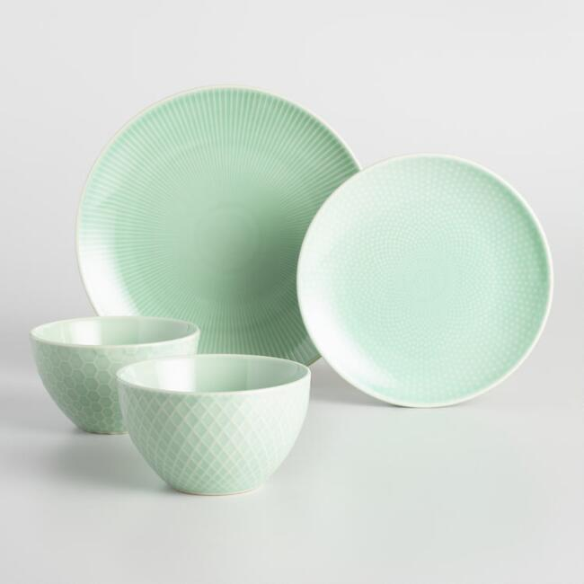 Mint Textured Stoneware Dinner Collection