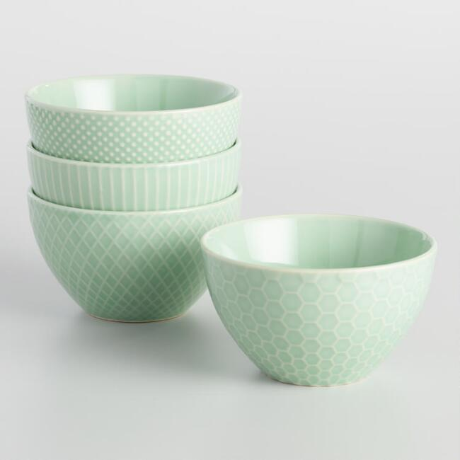 Mint Textured Stoneware Bowls Set of 4