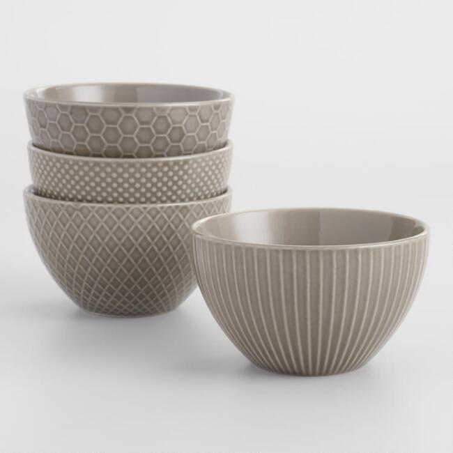 Taupe Textured Stoneware Bowls Set of 4
