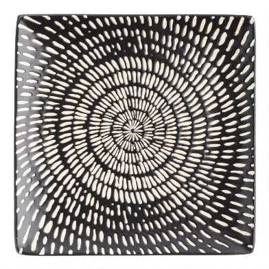 Square Black And White Swirl Trilogy Salad Plates Set Of 4