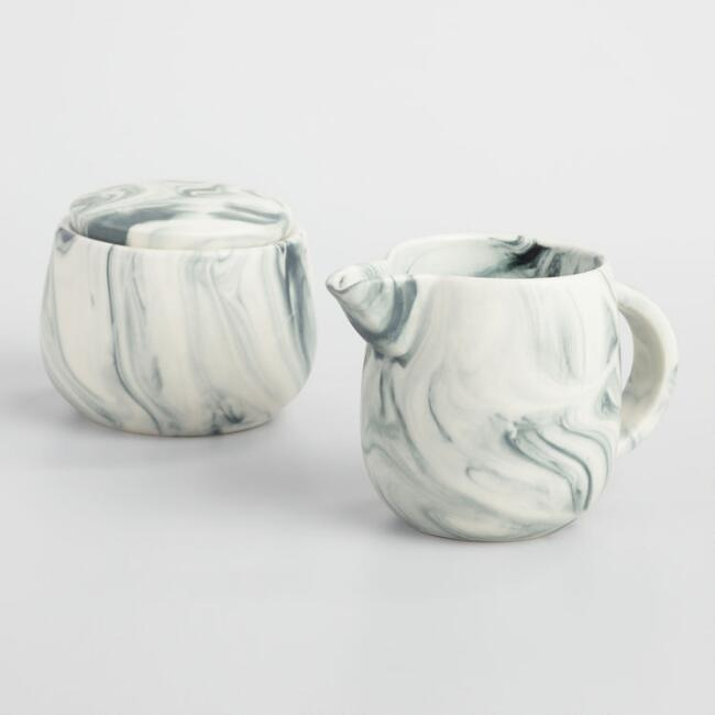 Marble Creamer and Sugar Pot