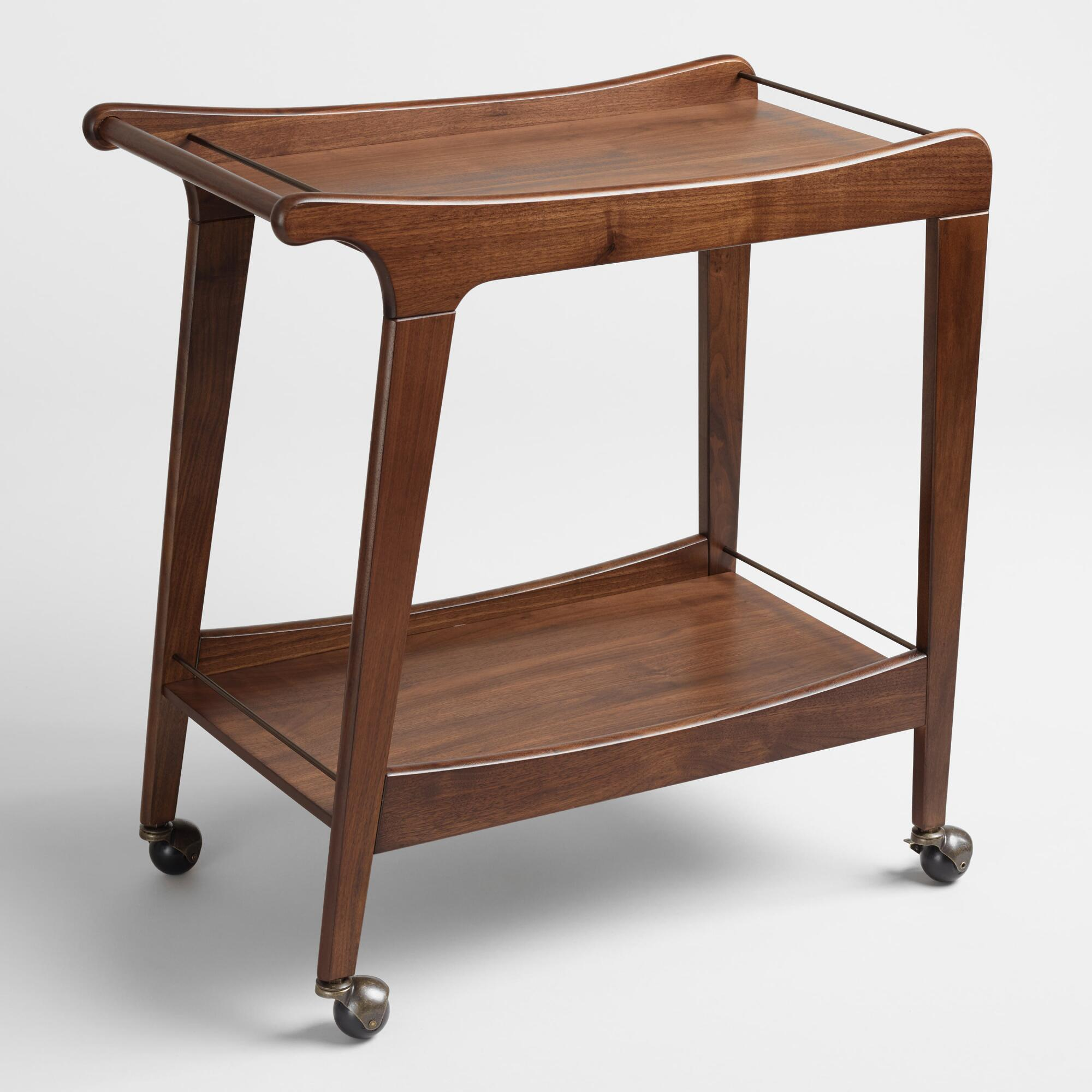 Small space furniture collection world market walnut mid century bar cart geotapseo Gallery