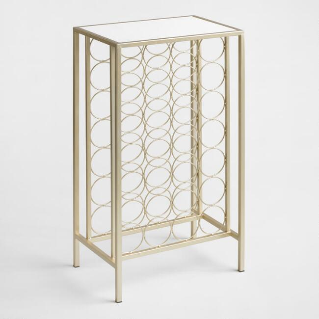 Champagne Gold Metal and Marble 28 Bottle Floor Wine Rack