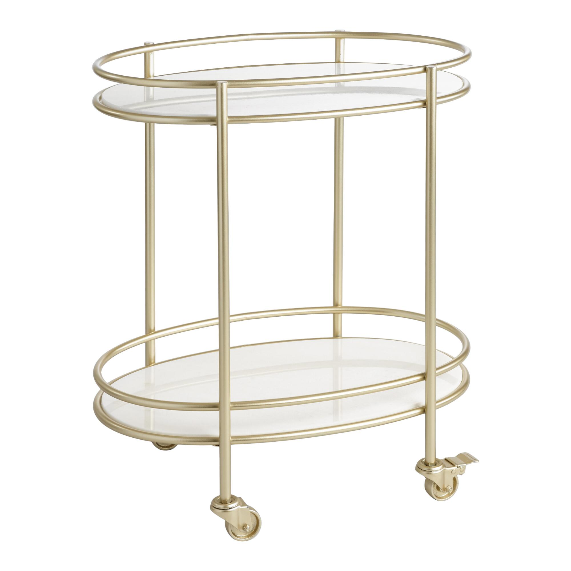 Champagne Gold Metal And White Marble Bar Cart