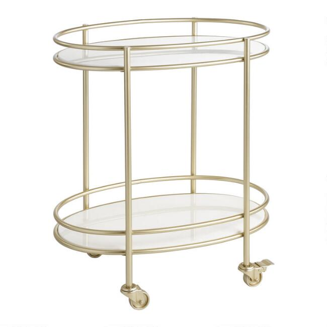 Champagne Gold And Marble 2 Tier Bar Cart