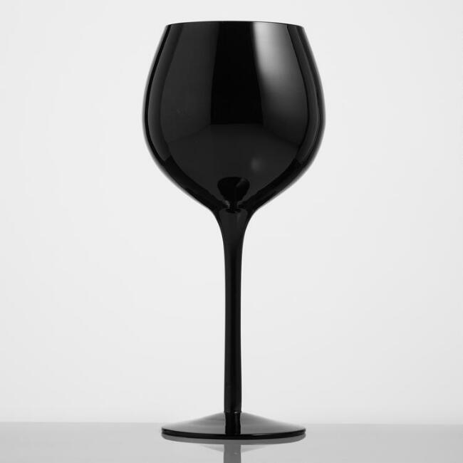 Black Glass Red Wine Glasses Set of 4