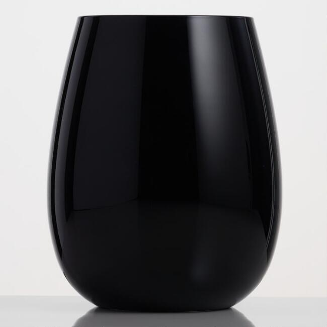 Black Glass Stemless Wine Glasses Set of 4