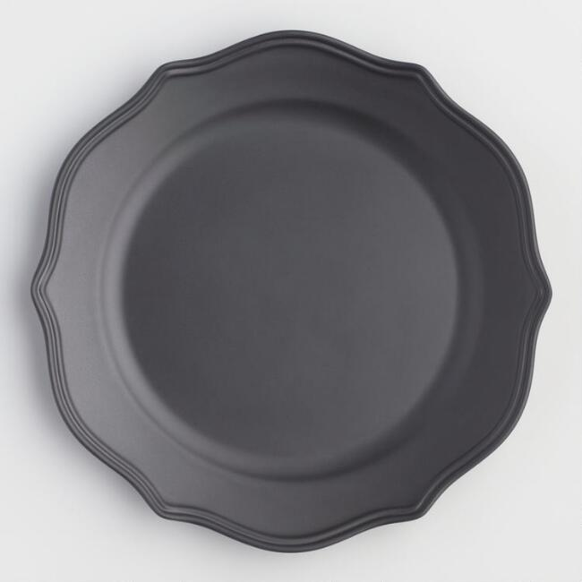 Matte Black Baroque Melamine Plates Set of 6
