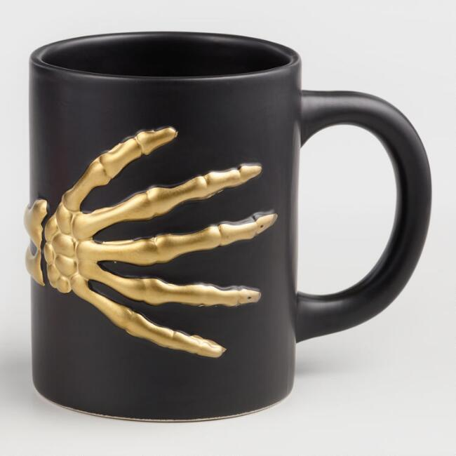 Black and Gold Skeleton Mug