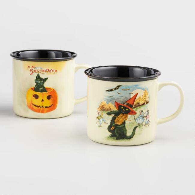Vintage Cat Art Halloween Mugs Set of 2