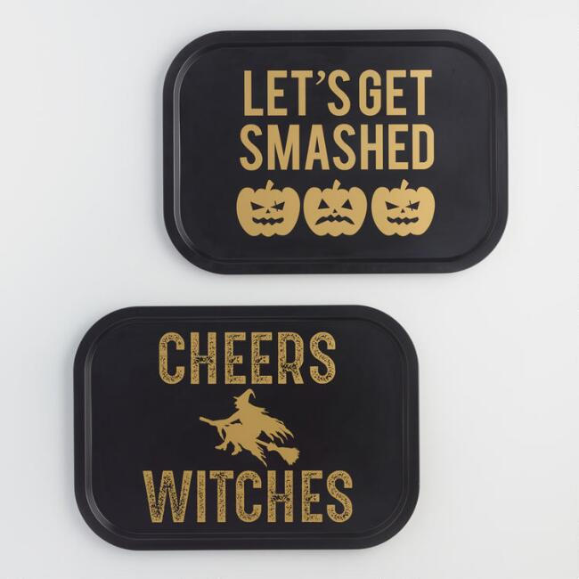Black and Gold Halloween Drink Trays Set of 2