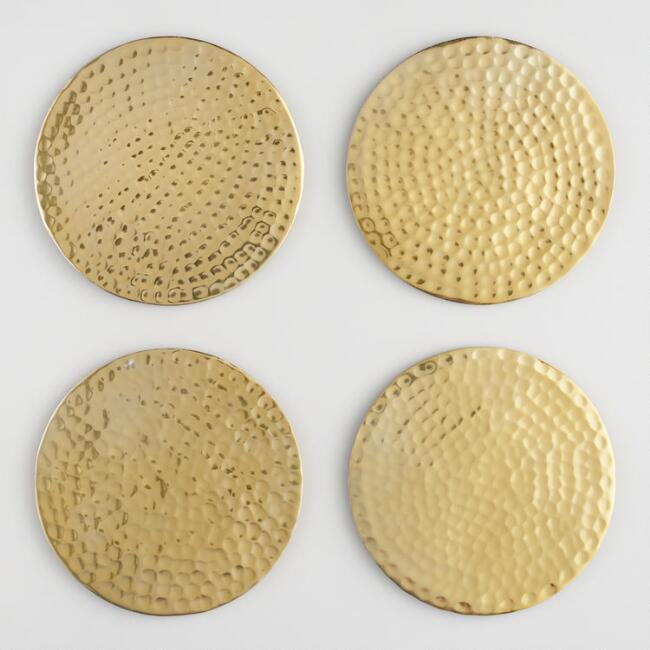 Gold Hammered Coasters Set of 4