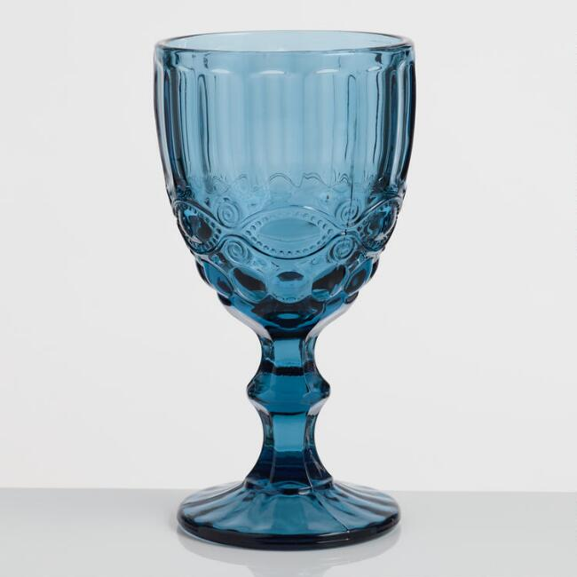 Blue Pressed Glass Goblets Set of 4