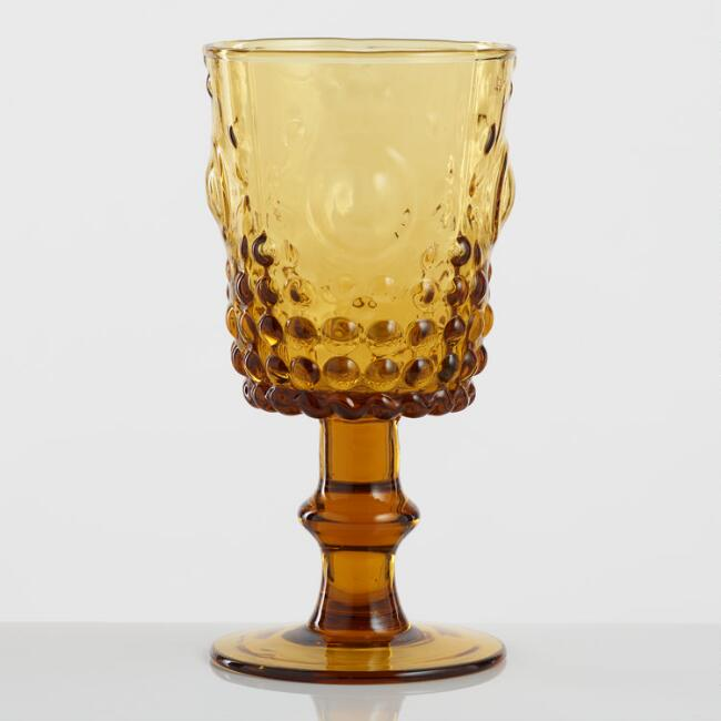 Amber Pressed Glass Goblets Set of 4