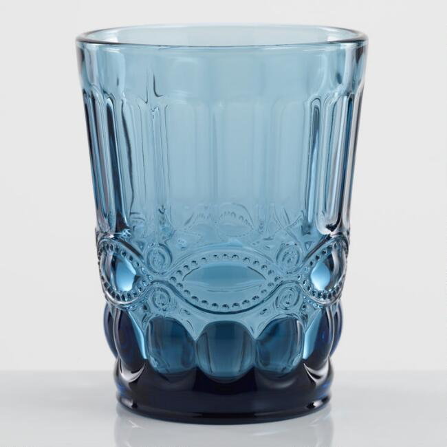 Blue Pressed Glass Tumblers Set of 4