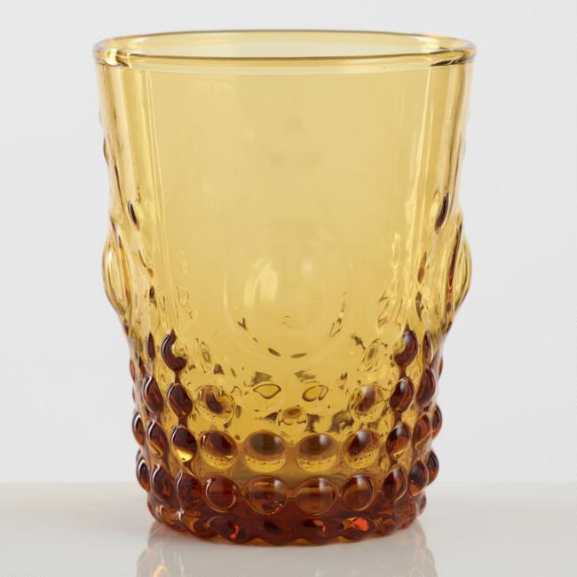 Amber Pressed Glass Tumblers Set of 4