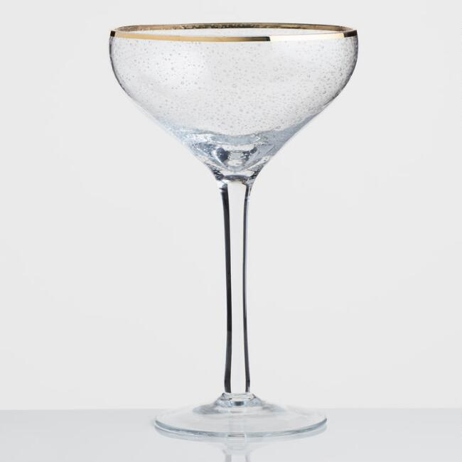 Gold Rimmed Bubble Glass Coupe Glasses Set of 4
