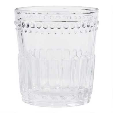 Clear Pressed Glass Double Old Fashioned Glasses Set of 4
