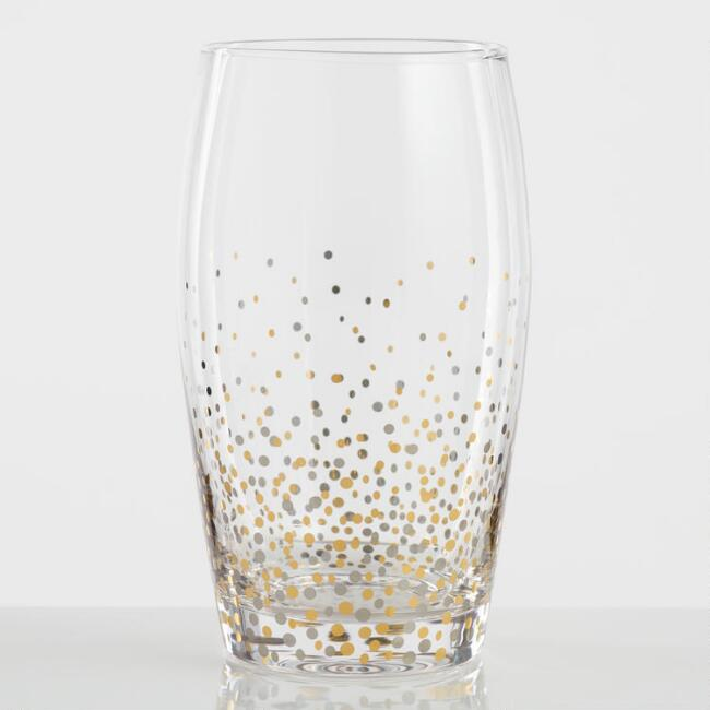 Metallic Confetti Highball Glasses Set of 4