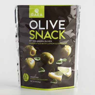 Gaea Green Olives with Lemon Snack Pack