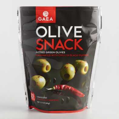 Gaea Green Olives with Chili Peppers Snack Pack