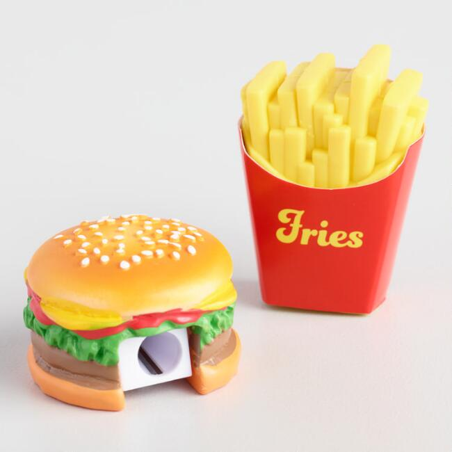 Hamburger And Fries Eraser And Pencil Sharpener Set