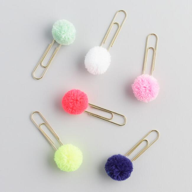 Pom Pom Paper Clips Set of 6