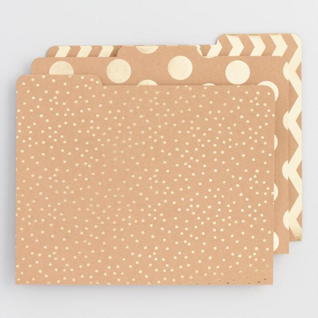 Gold Foil Kraft File Folders Set of 6