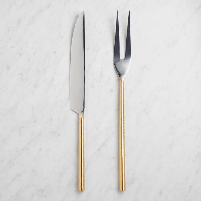 Hammered Gold 2-Piece Carving Set