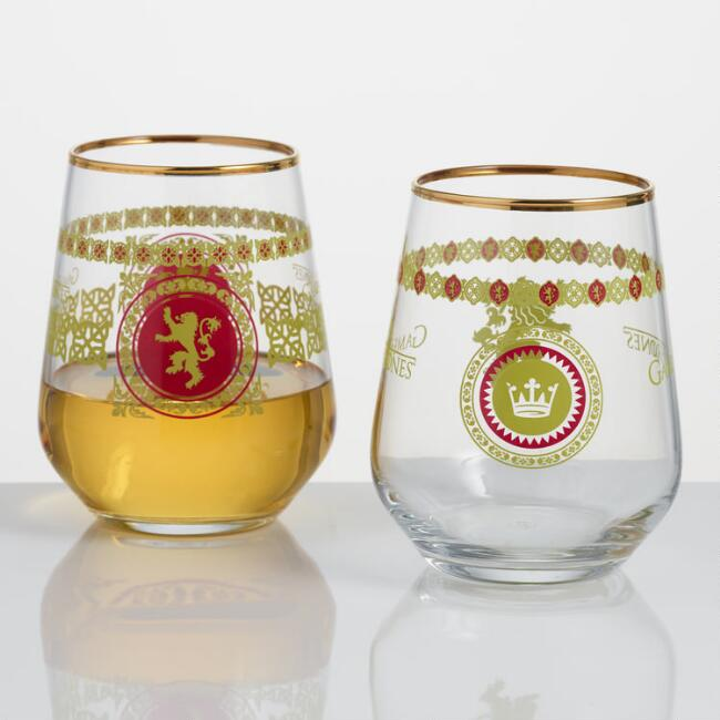 Game of Thrones Lannister Stemless Wine Glasses Set of 2