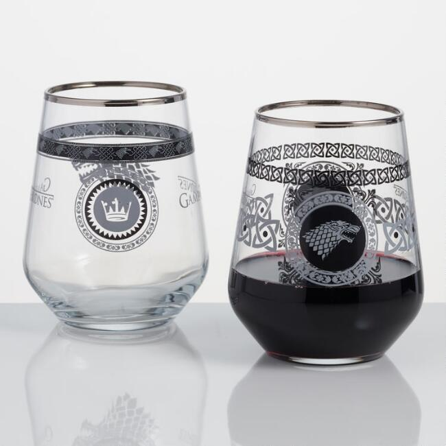 Game of Thrones Stark Stemless Wine Glass Set of 2
