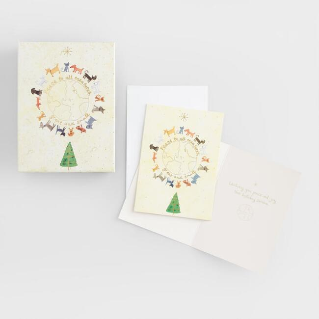 Global Animals Boxed Holiday Cards Set Of 15