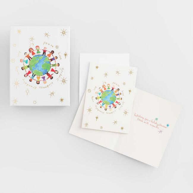 Large  Global Kids Boxed Holiday Cards Set of 20
